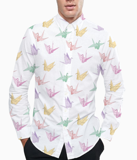 Origami birds basic shirt front