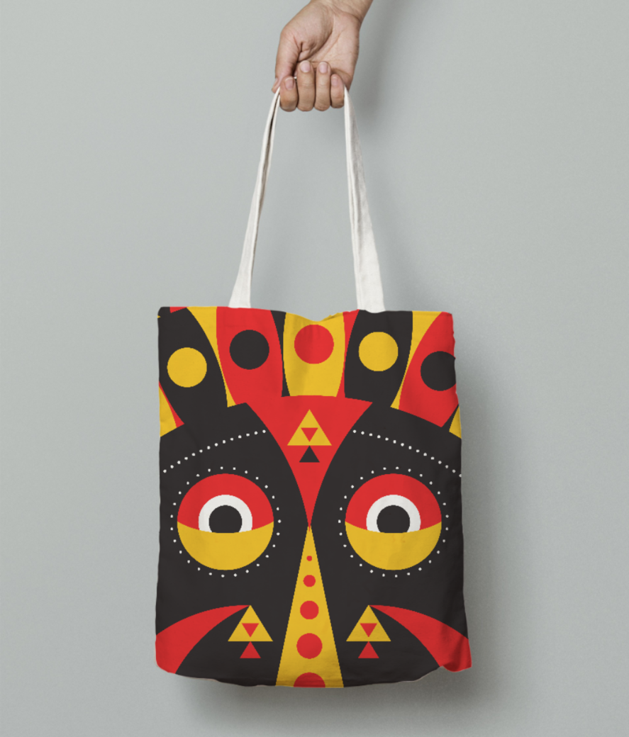 Aboriginal mask tote bag front
