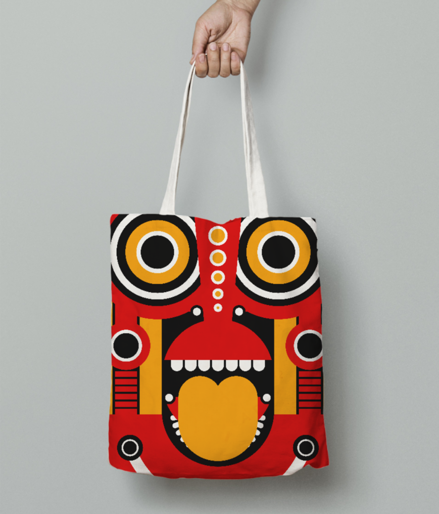 Tiki mask tote bag front
