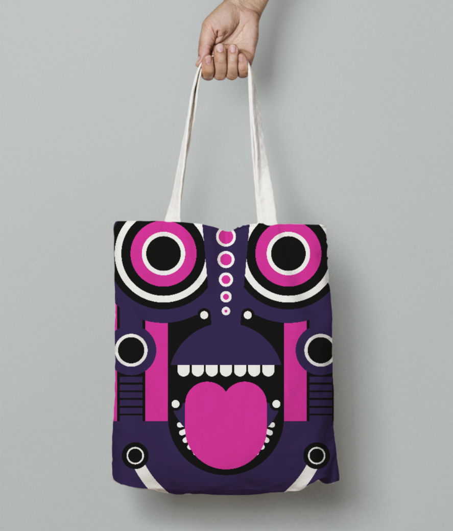 Tiki tribal tote bag front