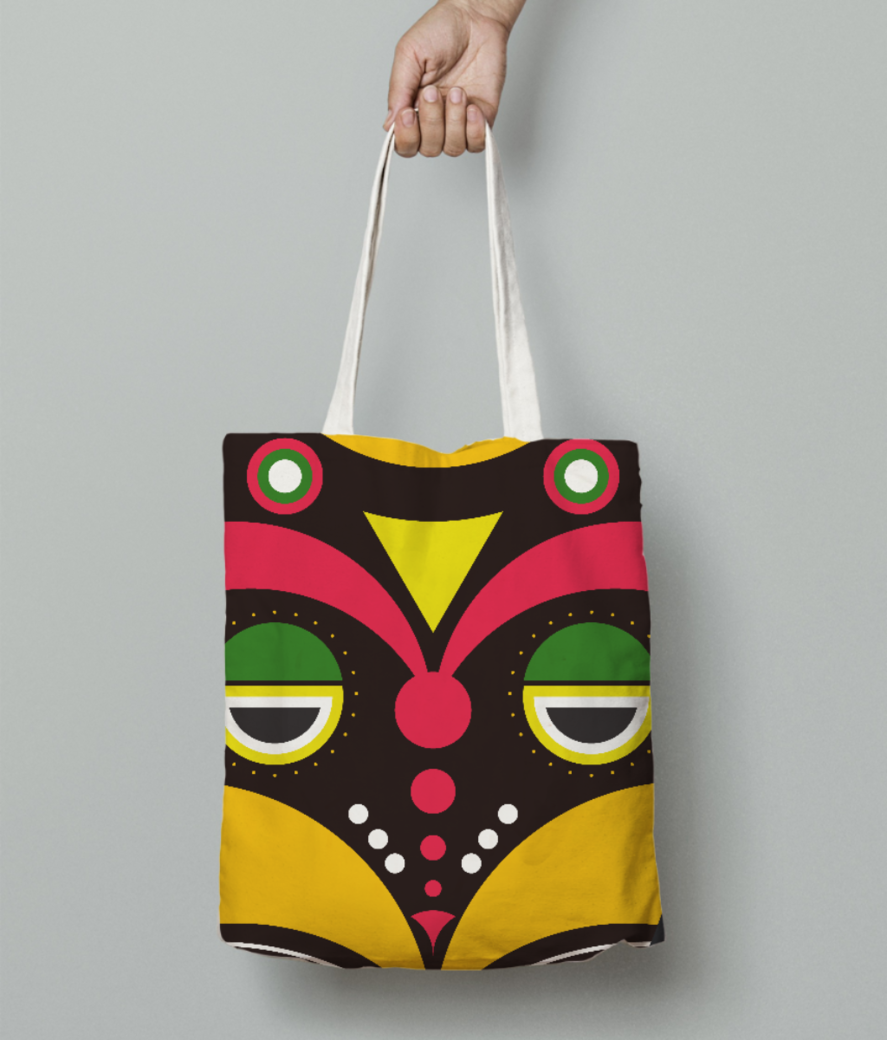 African traditional tribal mask tote bag front
