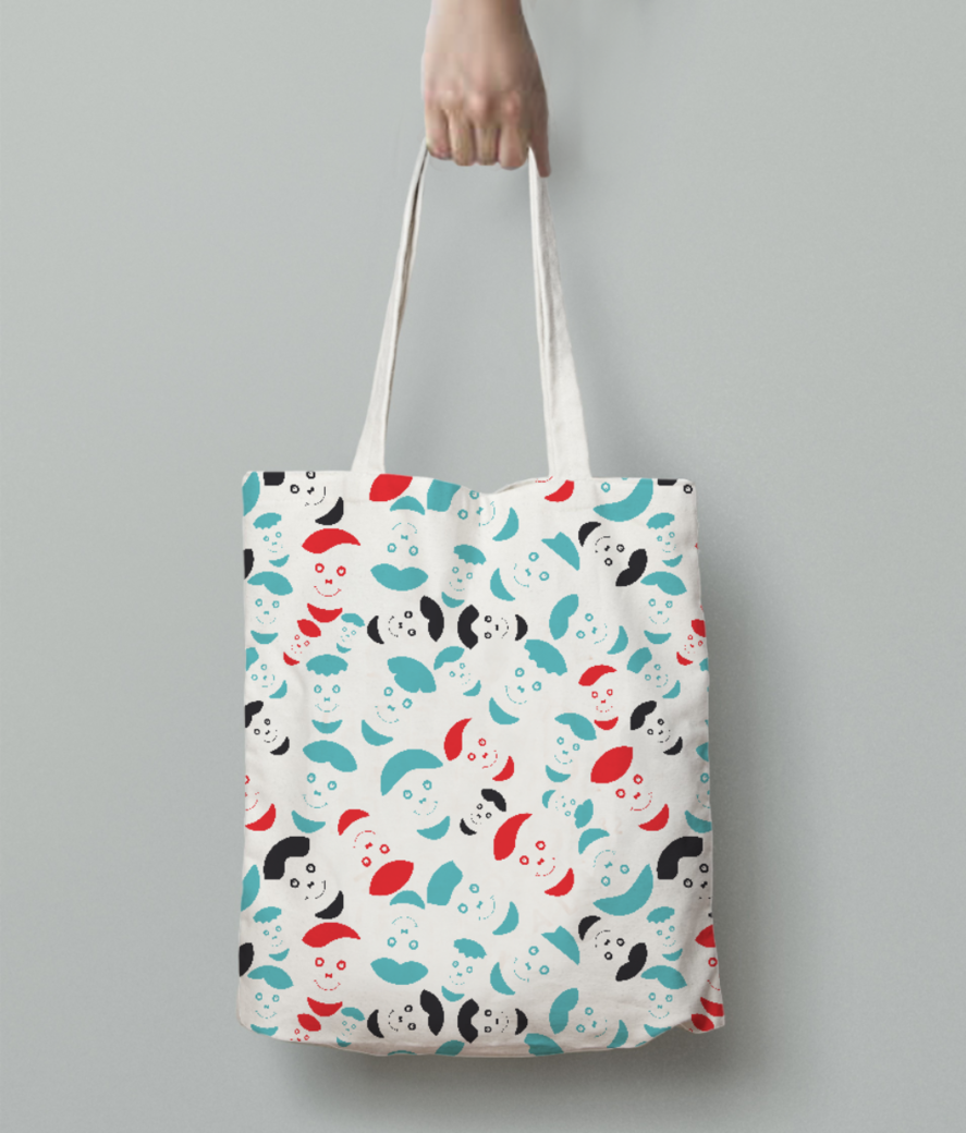 Red smiley faces tote bag back