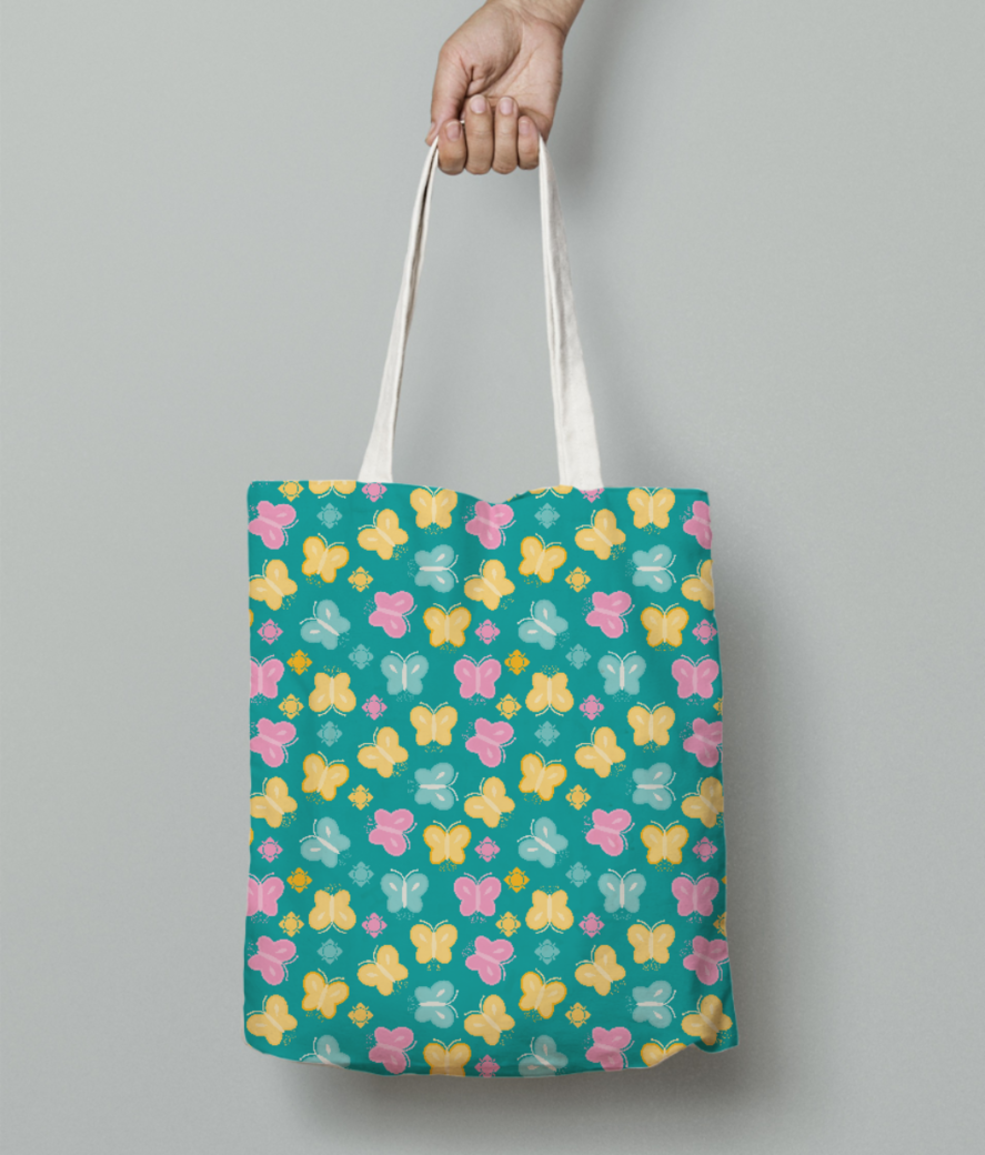 Colorful butterfly tote bag front
