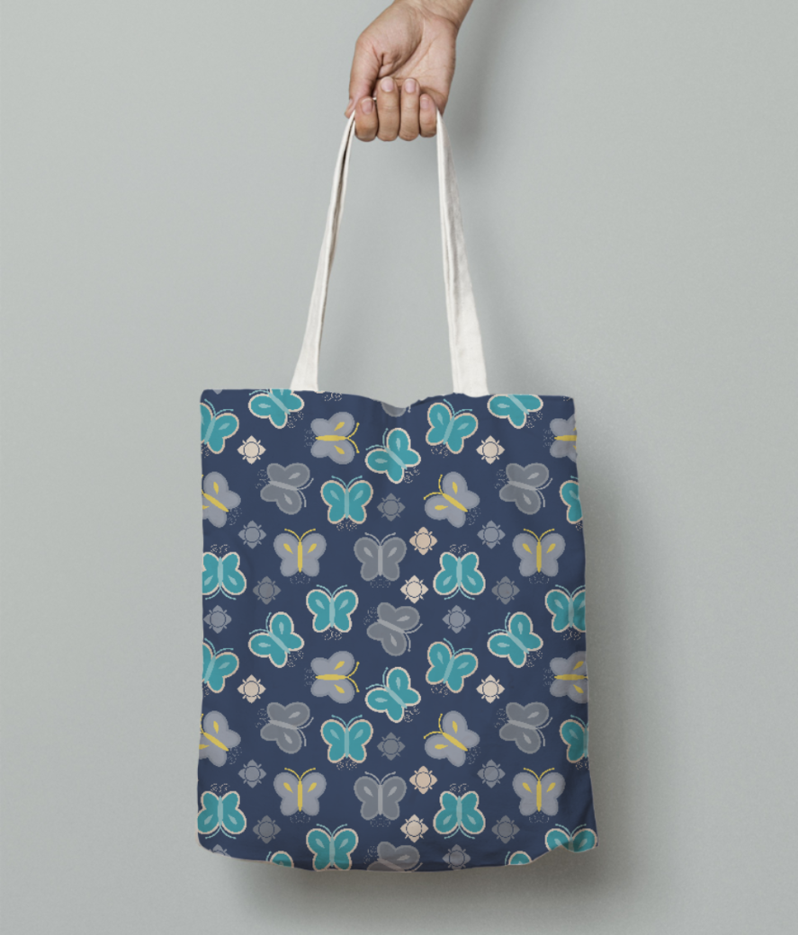 Seamless butterfly tote bag front