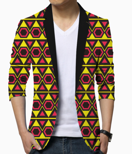 Yellow hawaiian triangle blazer front
