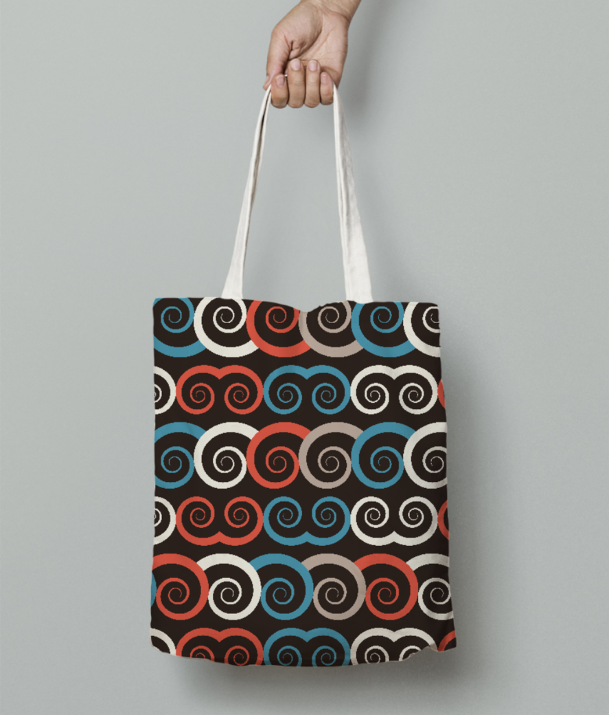 Curl swirl pattern tote bag front