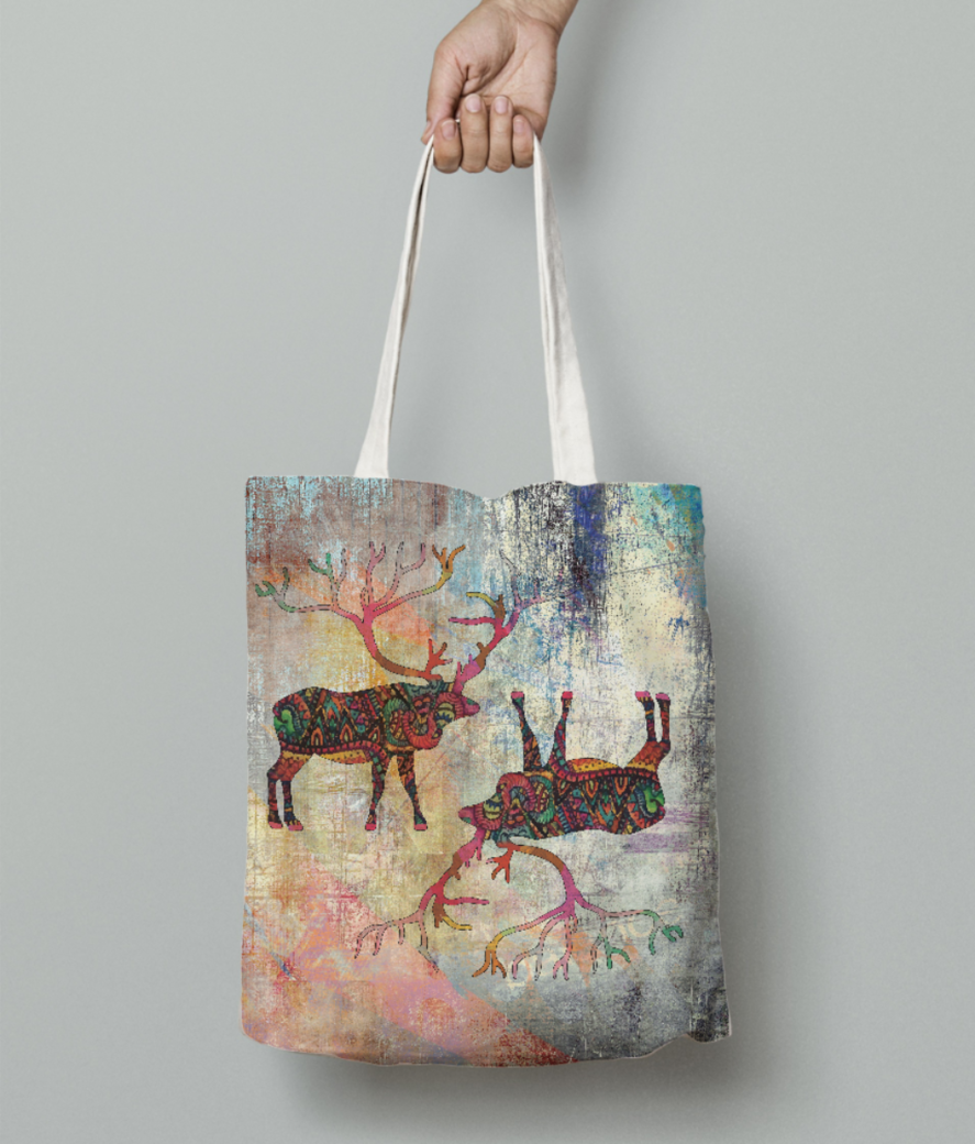 Reindeer cards tote bag front