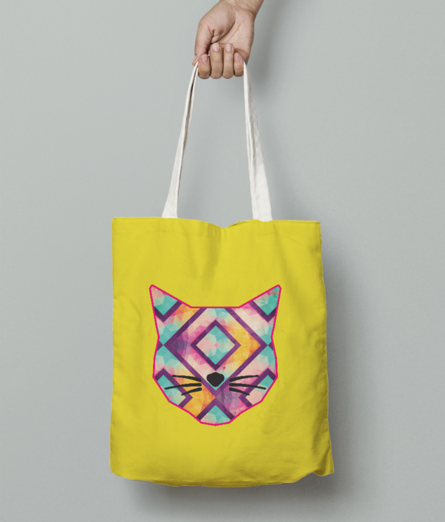 Catitude dark background tote bag front