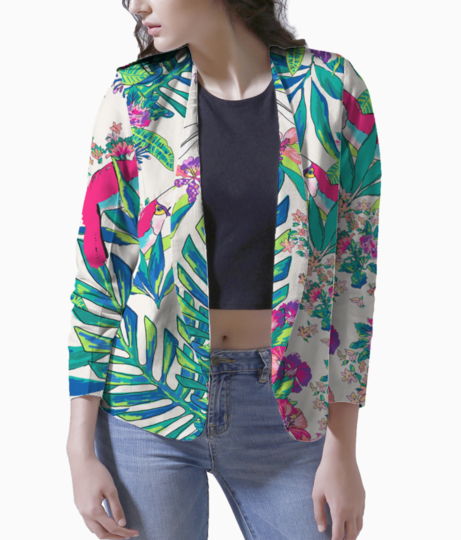Tropical print design pattern toucan bird print love label 709 blazer front
