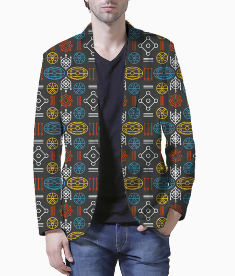 Colorful aztec tribal blazer front