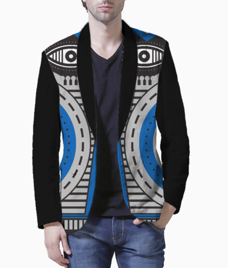 Blue illuminati tribal blazer front