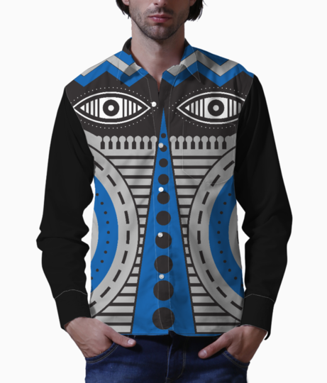 Blue illuminati tribal basic shirt front