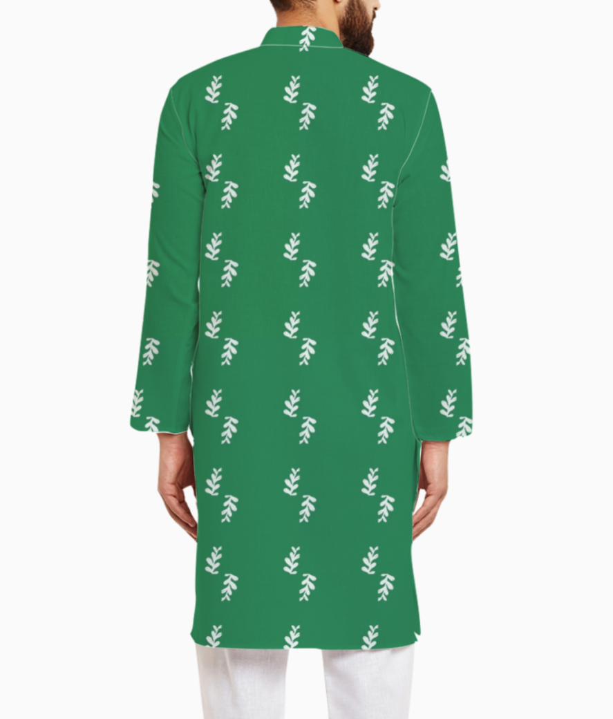 Green leaf kurta back