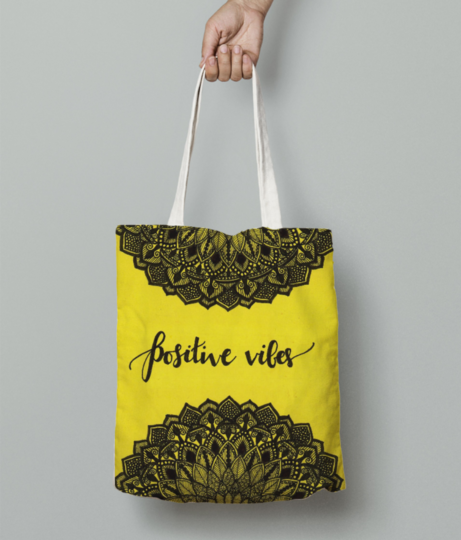 Positive vibes tote bag front