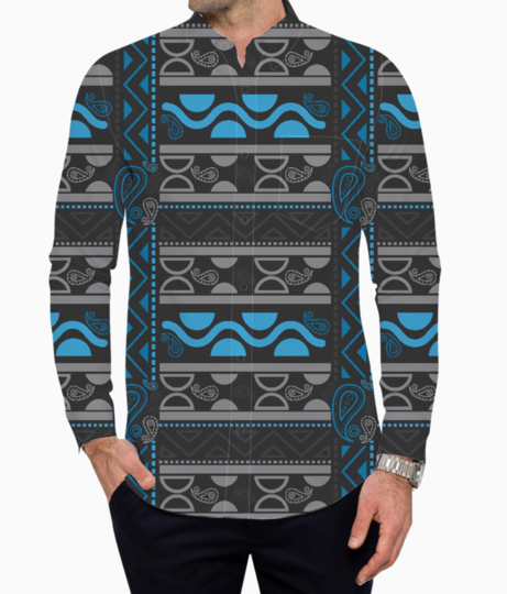 Blue aztec tribal basic shirt front