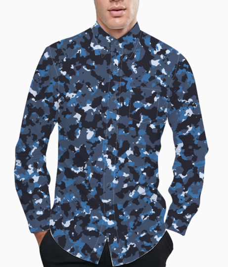 Abstract blue camo basic shirt front