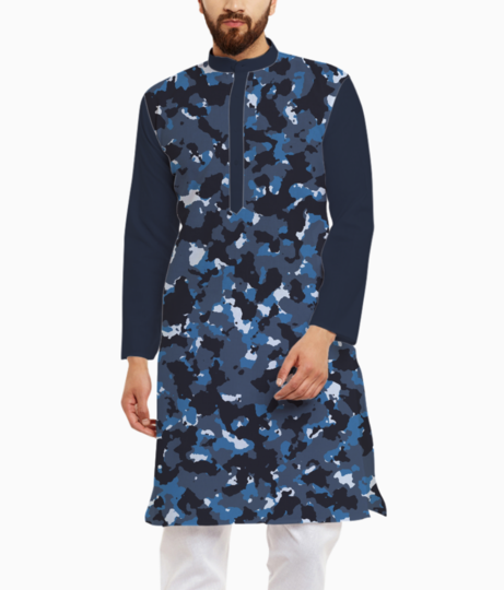 Abstract blue camo kurta front