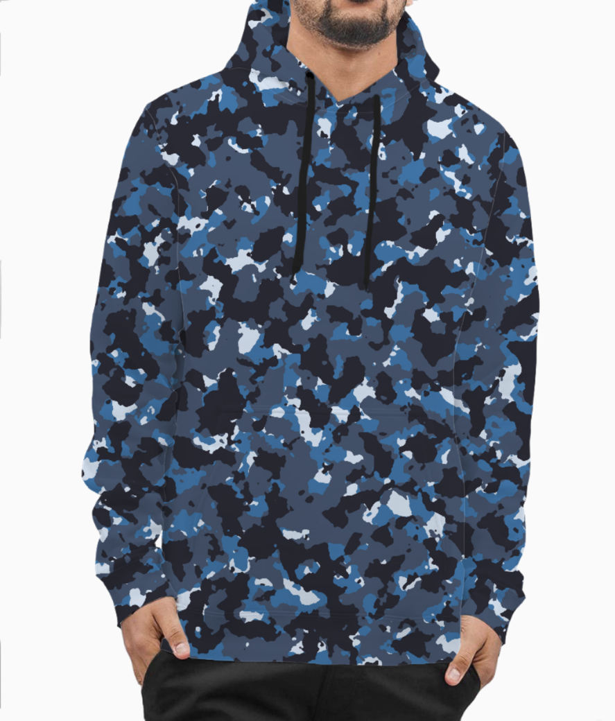 Abstract blue camo hoodie front
