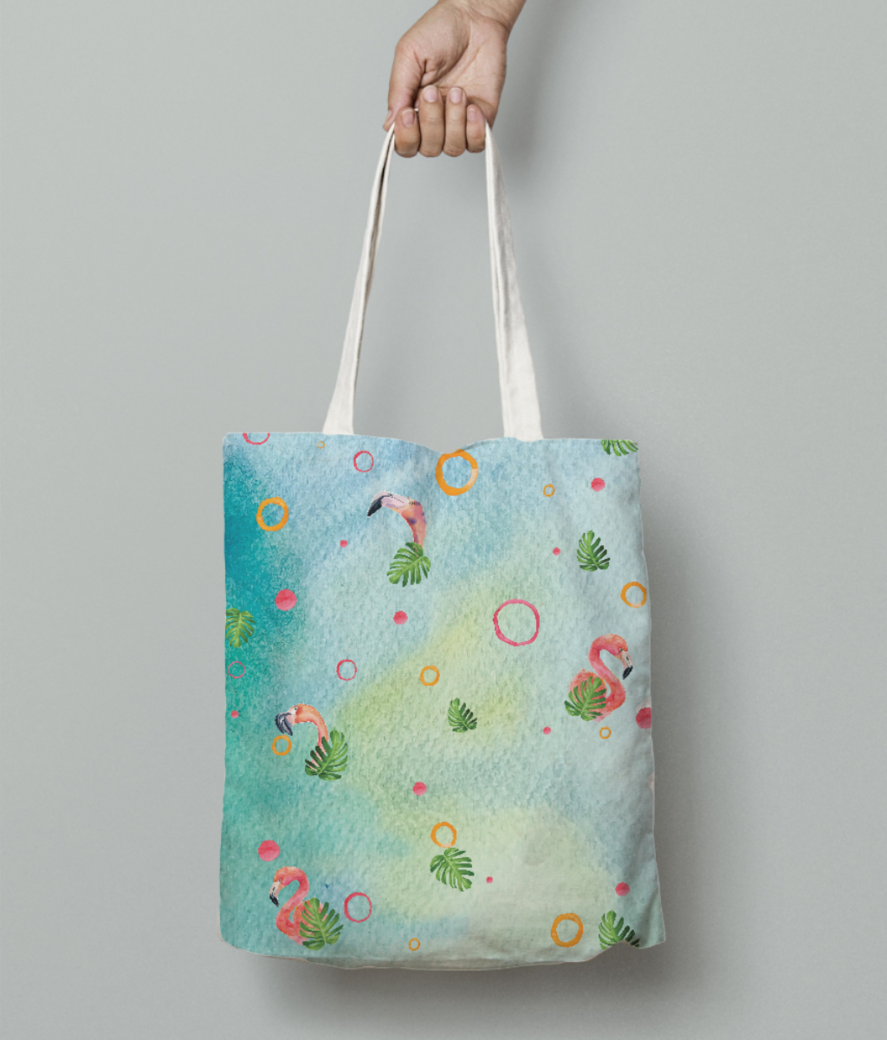 Flamingo party 2 tote bag front