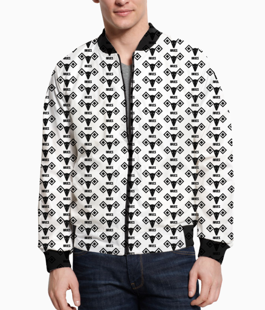 Aries astrology pattern bomber front