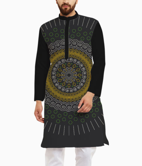 Green with yellow mandala circular kurta front