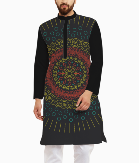 Yellow with red mandala circular kurta front