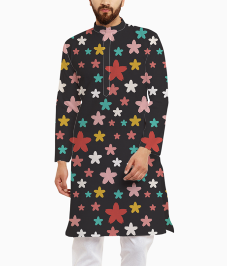 Symmetric star flowers kurta front