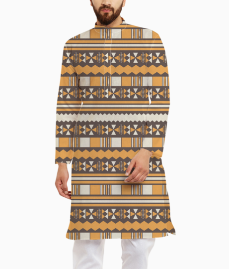 Brown aztec tribal kurta front