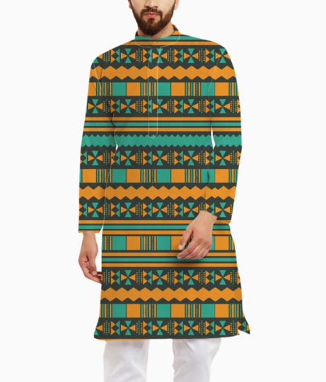 Green and yellow aztec tribal kurta front