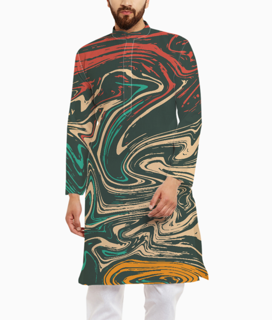 Colorful marble kurta front