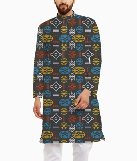 Colorful aztec tribal kurta front