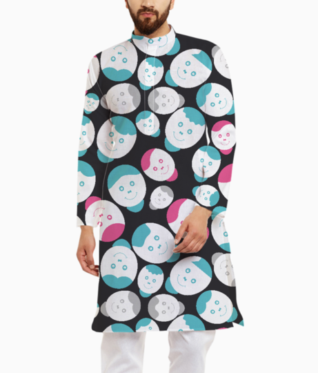 Pink with blue smiles kurta front