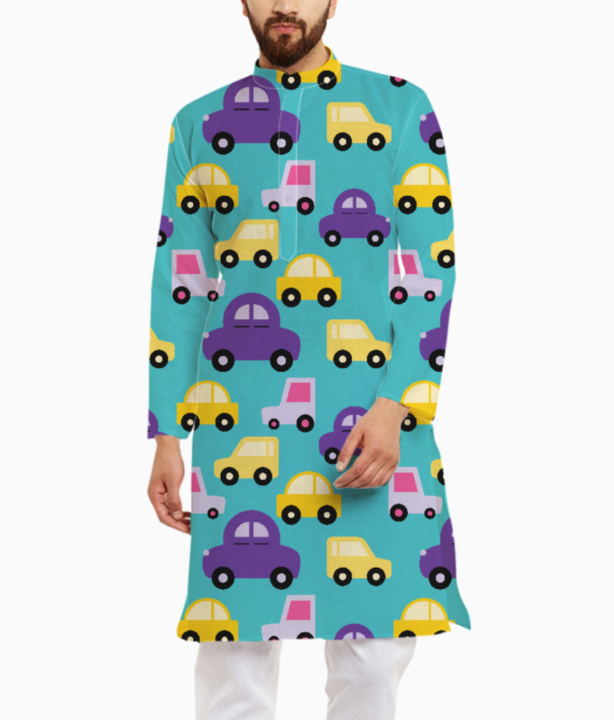 Purple cartoon cars kurta front