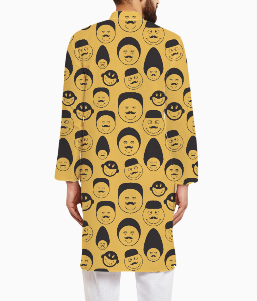 Yellow emotion faces kurta back
