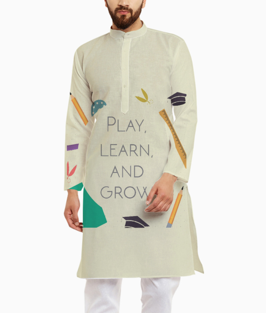 Play  learn   grow kurta kurta front