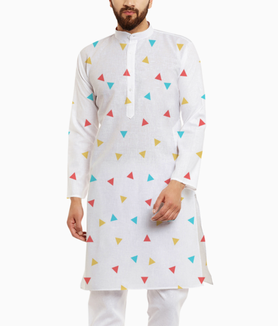 Small triangles in white kurta front