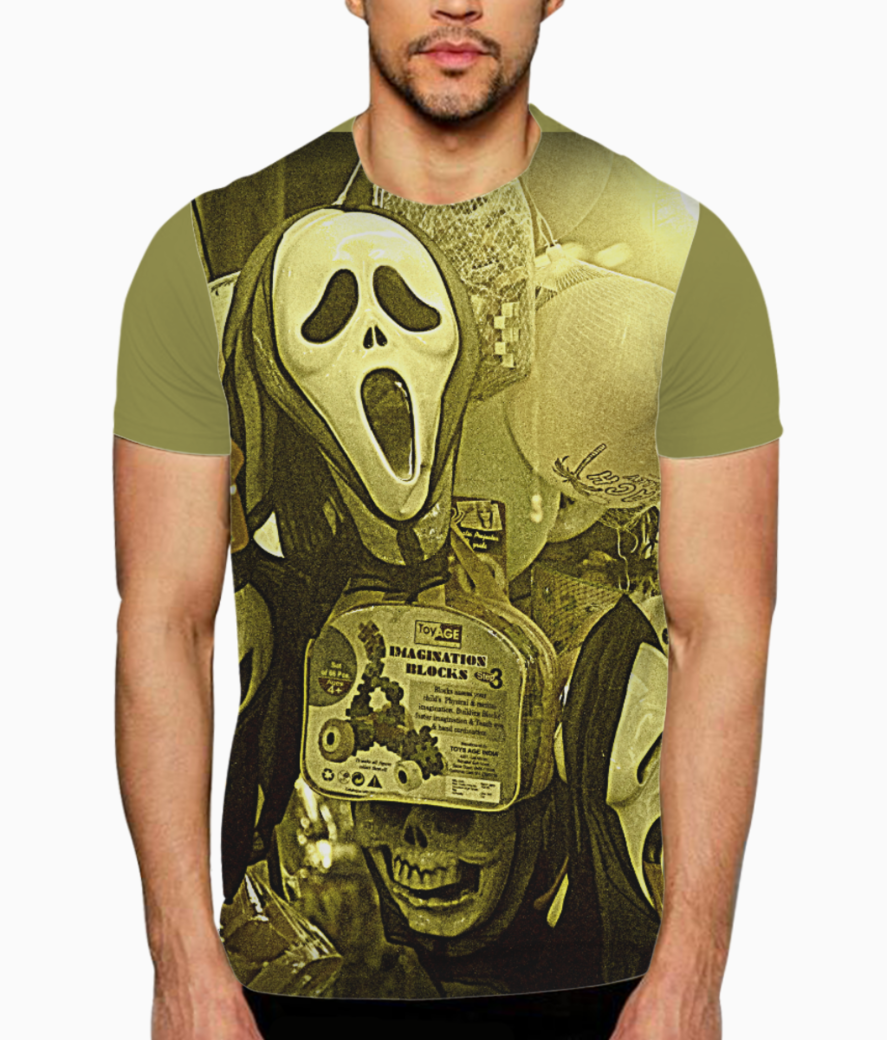 The masks in the melas t shirt front
