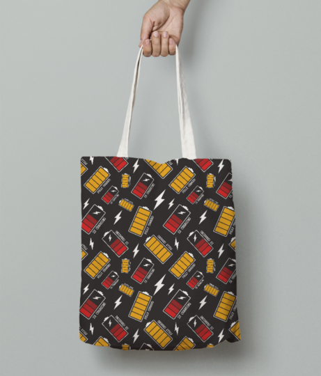 Battery charging tote bag front