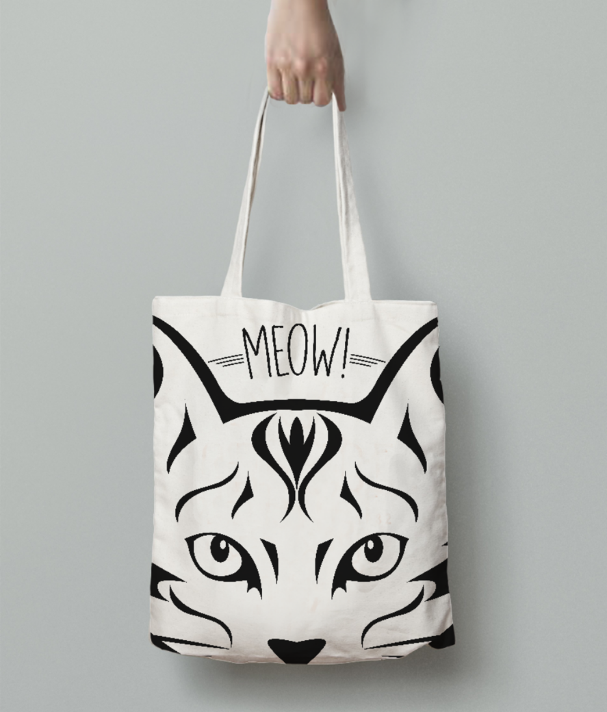 Meow cat tote bag back