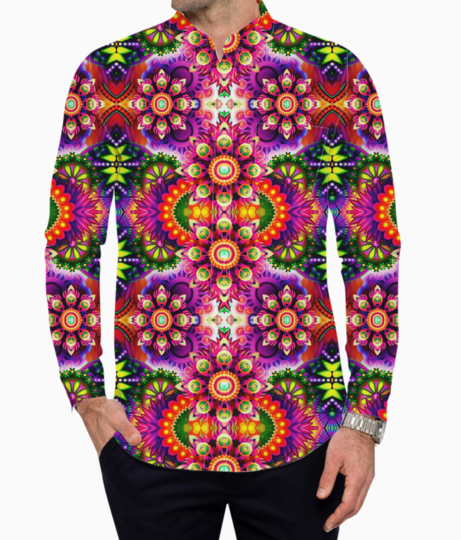 Psychedelic garden basic shirt front