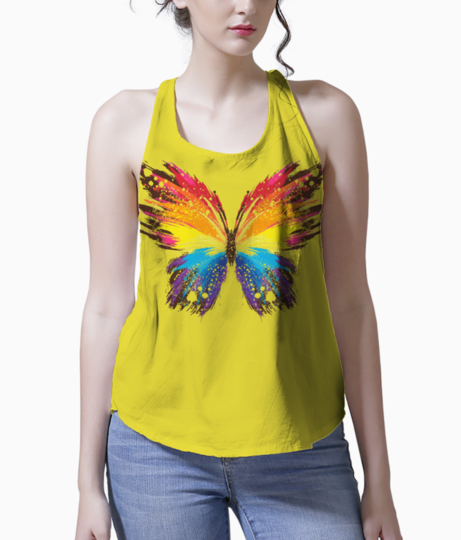 Abstract butterfly print tank front