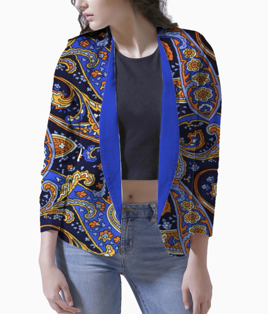 Pattern blue orange motifs blazer front