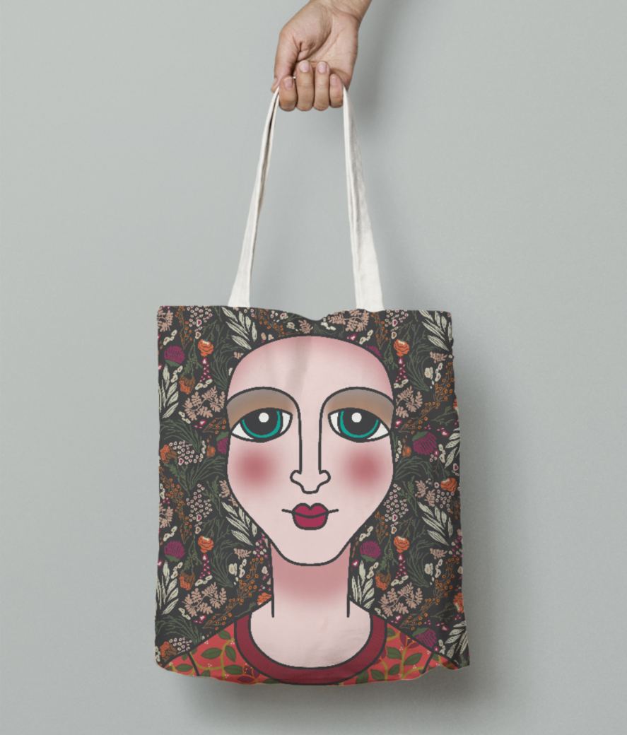 Portrait tote bag front