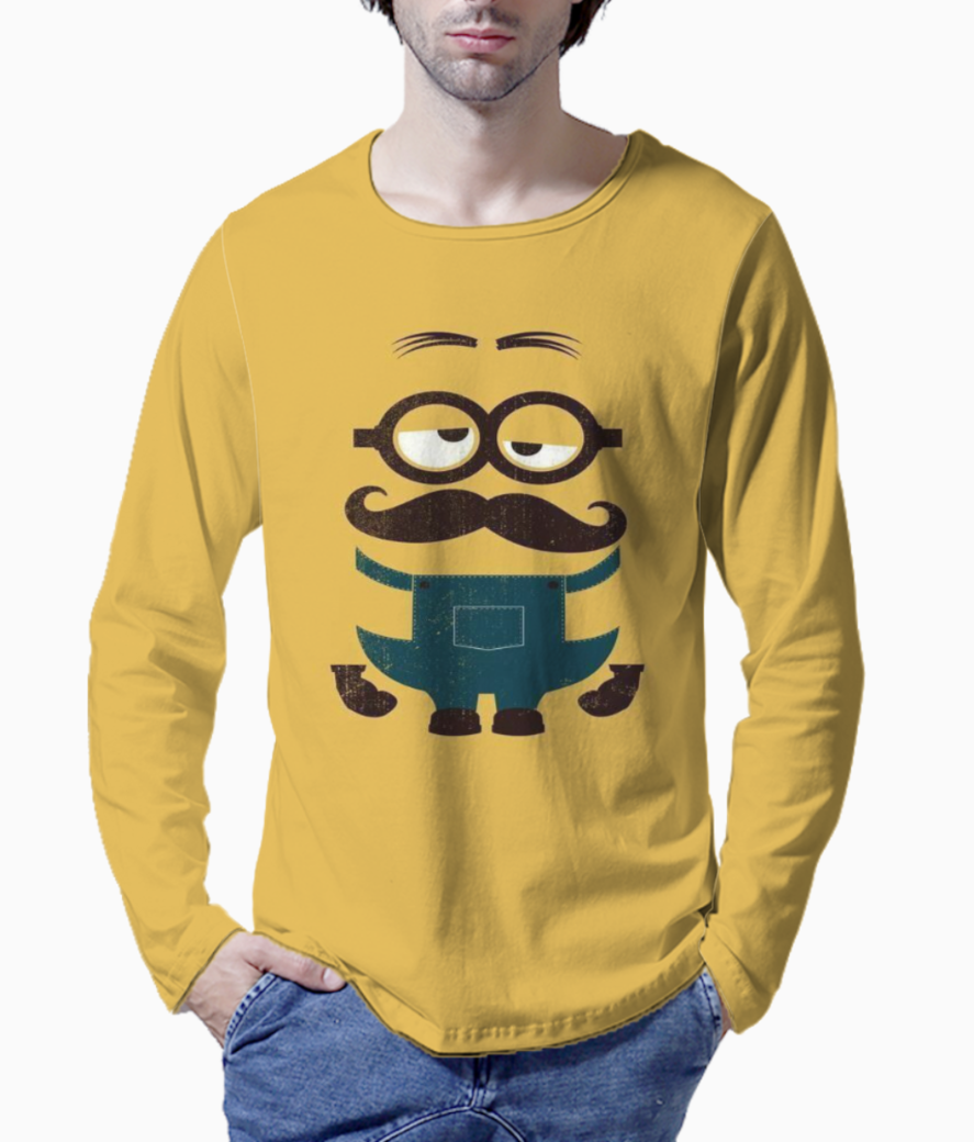 Minion with mustache henley front