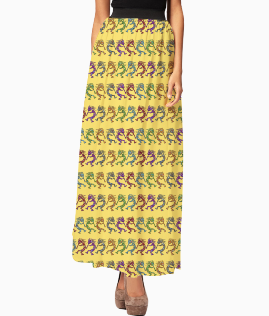 Kokopelli pattern long skirt front