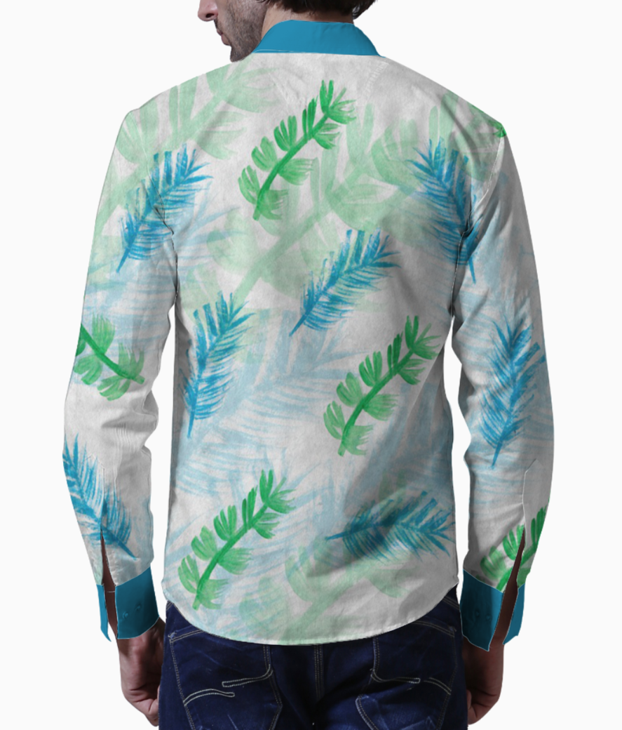 Background blue and green feathers basic shirt back