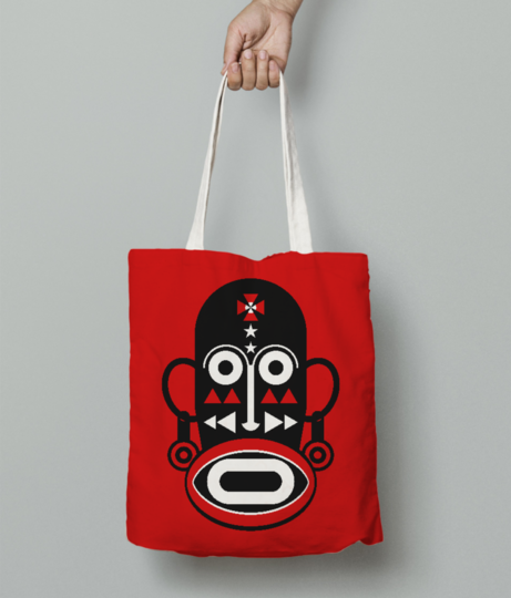 African monk mask tote bag front