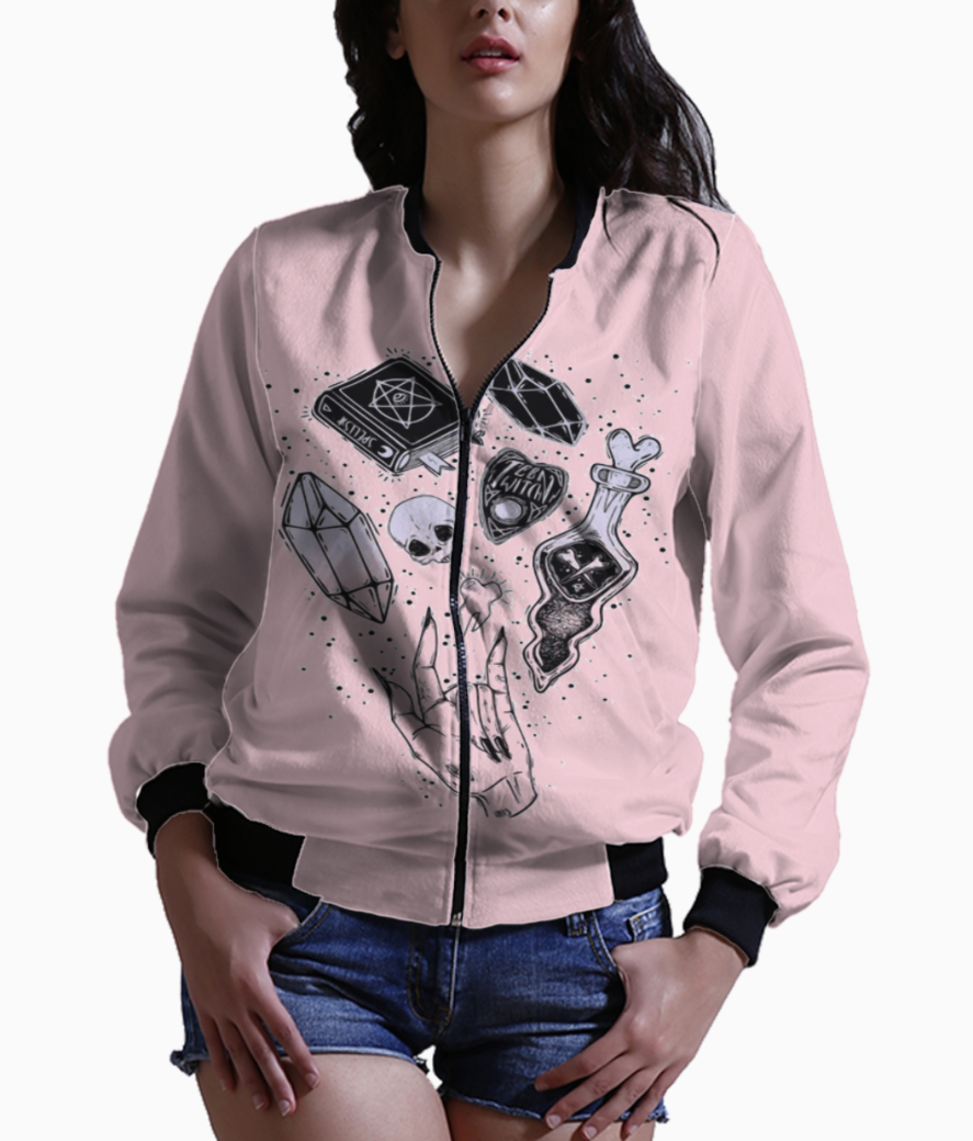 Witch hand skull bomber front
