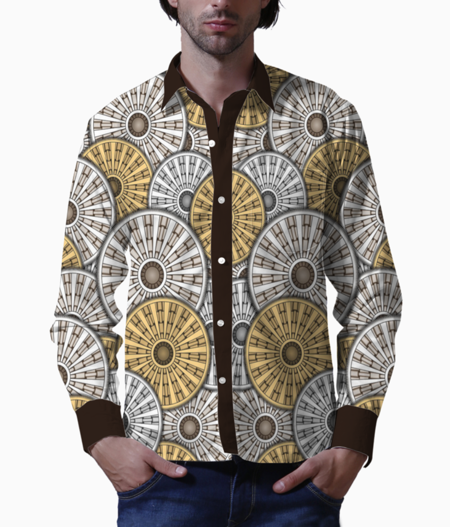 Background yellow and white circles1 basic shirt front