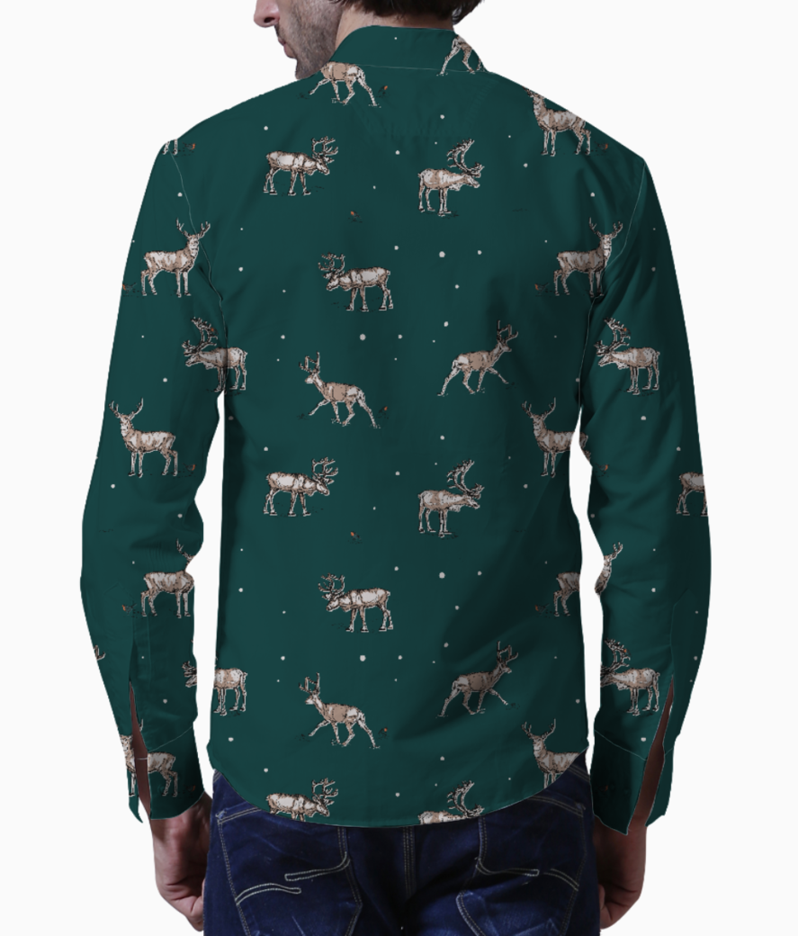 Conversational festive christmas reindeer stag country festive 01 basic shirt back